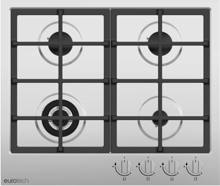 INSTALLED - Eurotech Gas 60cm Cooktop - EDG-604IX
